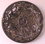 Cast iron plate with purple enamel - Blansko