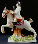 Soldier on white horse, with rifle and flowers