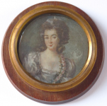 Painted miniature girls - wooden round frame