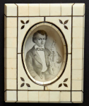 Miniature of violinist Josef Slavik - ivory frame