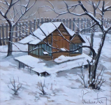 Cottage in winter - signature unreadable