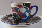 Coffee cup with small circles - Art deco