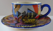 Art deco coffee cup, colorful