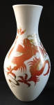 Vase with red Chinese dragon - Wallendorf