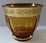 Amber glass bowl - gilded relief