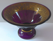 Larger bowl, amethyst glass, gilded relief strip  - type Moser