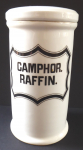 Porcelain pharmacy container, Camphor. Raffin - Elbongen