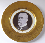 Jubilee plate with portrait of T. G. Masaryk and gilded edge