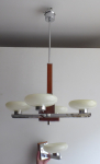 Chandelier with side lamp, chrome and wood
