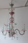 Murano chandelier with pendants and chain - three arms