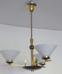 Art deco chandelier made of polished and patinated brass - funnel shaped shades