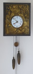 Biedermeier clock, wall-mounted, with figural drinkers