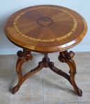 Round table with carving and inlaid roses