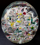 Paperweight with colorful big flower and air bubbles