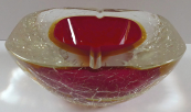 Glass massive ashtray, bowl, ruby center - Murano