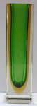 Prismatic vase, green and yellow staining - Murano
