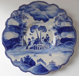 Faience blue-white plate with figures - Urednicek, Tupesy, cooperativa Zadruha