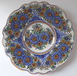 Painted faience plate, blue flowers - Urednicek, Tupesy