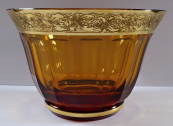 Bowl of amber glass, with gilded belt