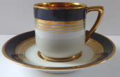 Coffee cup with cobalt band and gilded lines - Schlaggenwald