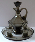 Carafe, four glasses, tray - smoked glass, art deco