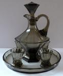 Carafe, four glasses, tray - smoked glass, art deco