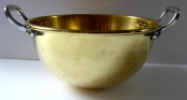Brass half-round bowl with metal handles