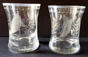 Two smaller glasses, cut floral motif