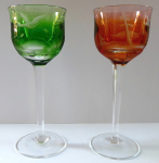 Two colorful and cut Moser glasses