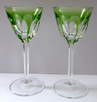 Two green glasses, on the stem - Moser