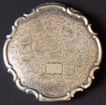 Silver powder compact, engraved, rocaille work