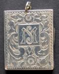 Silver rectangular pendant - engraved