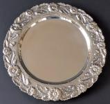 Silver round bowl, floral hem - Porto, Portugal