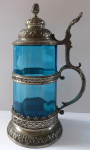 Pewter tankard with blue glass