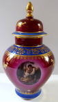Vase with lid, gallant scene