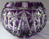 Cut round bowl, colorless and amethyst glass
