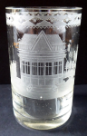 Biedermeier glass, engraved with the theme pavilion