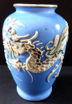 Small blue vase - gray Chinese dragon