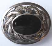 Silver brooch, celtic ornament, onyx