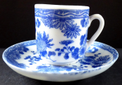 Coffee cup with blue chinese pattern