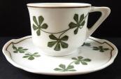 Art Nouveau coffee cup, green leaves - Burgau