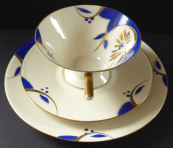 Cup with saucer and dessert plate, art deco  - Bareuther