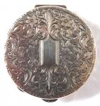 Small round silver box, with mirror