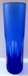 Blue vase with cut ovals