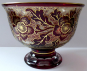 Bowl of ruby and gilded glass - etched flowers