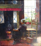 Carl Duxa - North German girl sitting by the fireplace