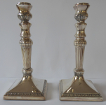 Two silver candlesticks, lotus flower - Lutz & Weiss, Pforzheim