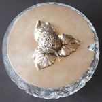 Crystal bowl, silver lid with strawberry