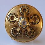 Gold brooch, black enamel, rings and star  - Biedermeier
