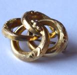 Gold brooch, plaited ornament - Biedermeier